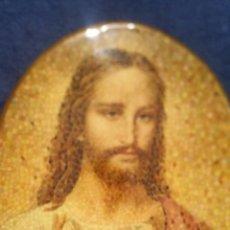 Arte: LÁMINA DE CORAZÓN DE JESÚS EN FORMA DE MOSAICO. Lote 155013277