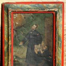 Arte: ANTIGUA PINTURA RELIGIOSA - ÓLEO SOBRE COBRE - MARCO DE ÉPOCA - SANTOS - LIBRO - ESPÍRITU SANTO. Lote 155036026