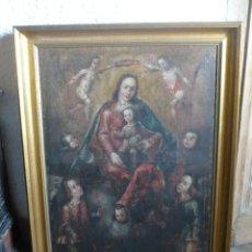 Arte: VIRGEN CON ANGELES, OLEO SOBRE TELA SIGLO XVII O PRINCIPIOS XVIII ESCUELA ANDALUZA. . Lote 155050510