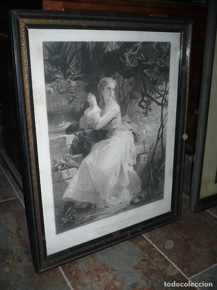 GRABADO ISABELINO, SEGUNDA MITAD DEL SIGLO XIX CON MARCO Y CRISTAL ORIGINAL MEDIDAS: 75 X 61 CM (Arte - Arte Religioso - Grabados)