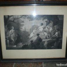 Arte: GRABADO ISABELINO DE TEMA MITOLÓGICO S. XIX CON MARCO DE ÉPOCA Y CRISTAL MEDIDAS: 84 X 70 CM . Lote 155156466