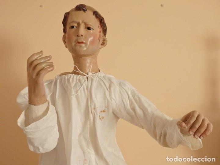 Arte: San Pedro Mártir. Imagen vestidera o cap i pota en madera tallada. 98 cm. Siglo XVIII. - Foto 2 - 143340742