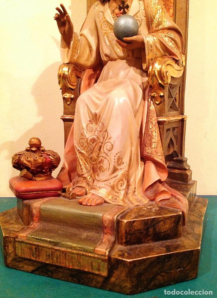 Arte: Gran Sagrado Corazón De Jesús Entronizado Con Sello Altura 77CM Talla - Foto 6 - 58327778