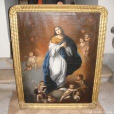 Arte: MAGNÍFICO OLEO SOBRE LIENZO. S.XIX. INMACULADA MURILLESCA. EXCELENTE MARCO DORADO.. Lote 155234318