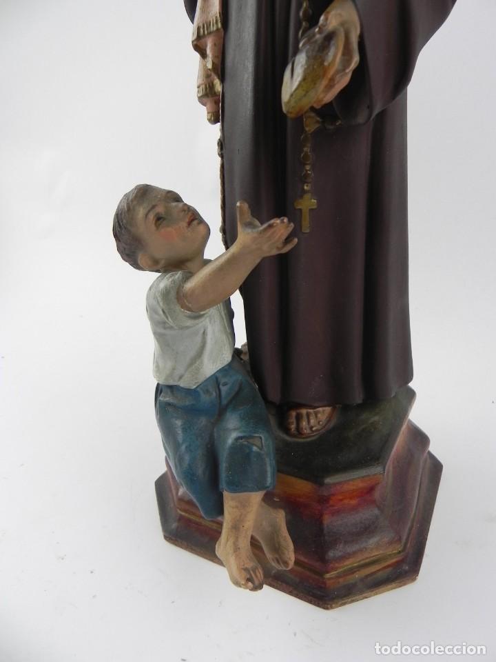 Arte: PRECIOSO SAN ANTONIO DE PADUA DANDO PAN A LOS POBRES, SELLO OLOT. ESTUCO POLICROMADO, MIDE 35 CM Y 3 - Foto 3 - 155238470