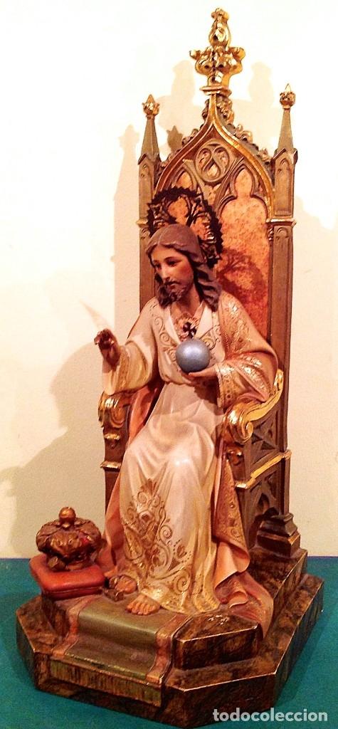 Arte: Gran Sagrado Corazón De Jesús Entronizado Con Sello Altura 77CM Talla - Foto 8 - 58327778