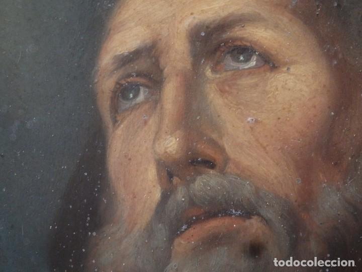 CHARITAS BÓNITAS. S. FRANCISCO DE PAULA. ÓLEO SOBRE LÁMINA DE METAL. 41 X 31 CM. SIGLOS XVII-XVIII. (Arte - Arte Religioso - Pintura Religiosa - Oleo)