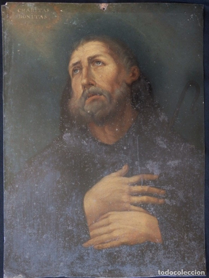 Arte: Charitas Bónitas. S. Francisco de Paula. Óleo sobre lámina de metal. 41 x 31 cm. Siglos XVII-XVIII. - Foto 2 - 155317470