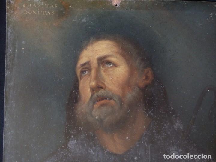 Arte: Charitas Bónitas. S. Francisco de Paula. Óleo sobre lámina de metal. 41 x 31 cm. Siglos XVII-XVIII. - Foto 3 - 155317470
