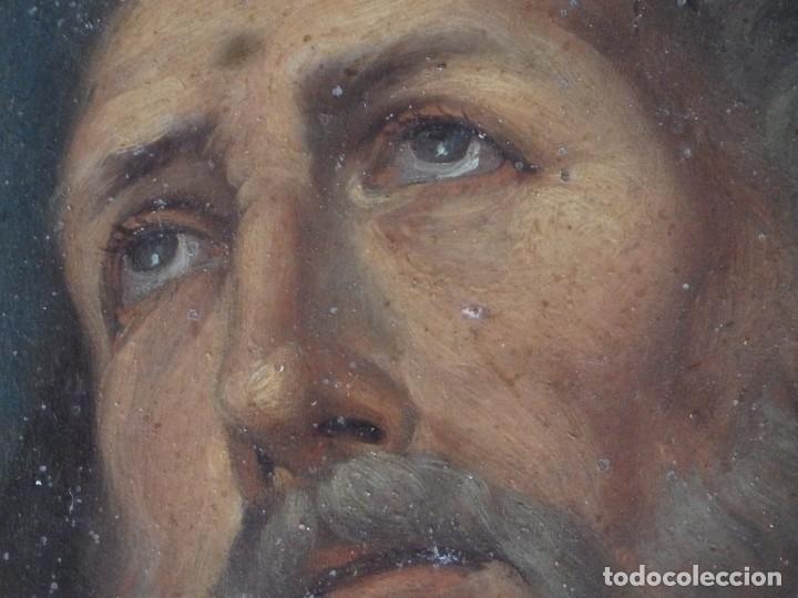 Arte: Charitas Bónitas. S. Francisco de Paula. Óleo sobre lámina de metal. 41 x 31 cm. Siglos XVII-XVIII. - Foto 5 - 155317470