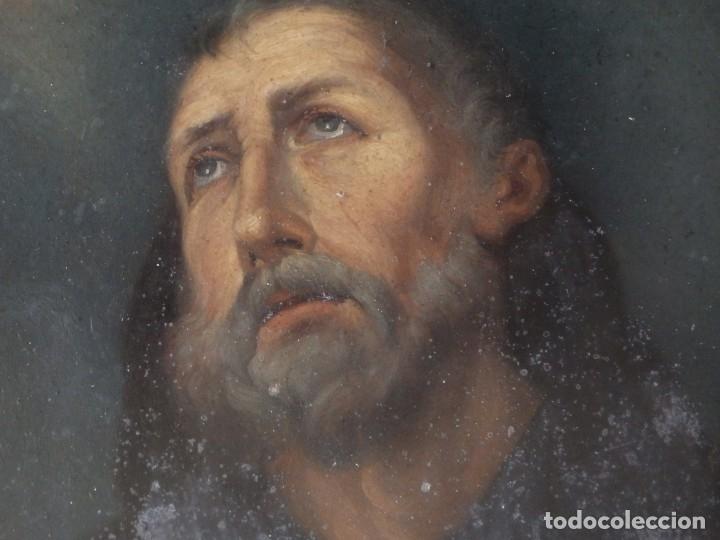 Arte: Charitas Bónitas. S. Francisco de Paula. Óleo sobre lámina de metal. 41 x 31 cm. Siglos XVII-XVIII. - Foto 4 - 155317470