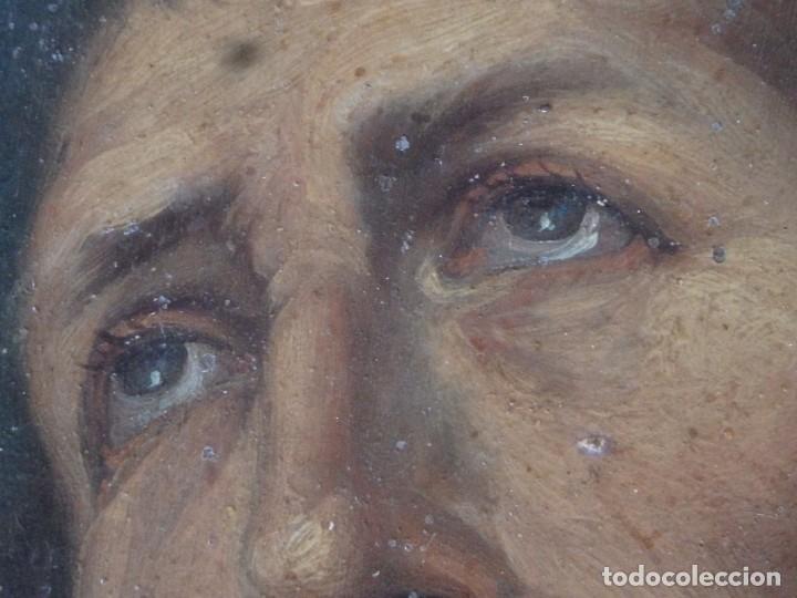 Arte: Charitas Bónitas. S. Francisco de Paula. Óleo sobre lámina de metal. 41 x 31 cm. Siglos XVII-XVIII. - Foto 6 - 155317470
