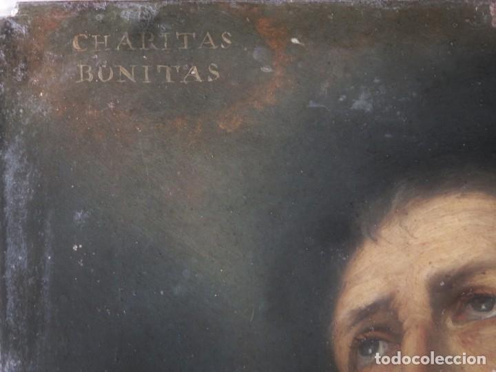 Arte: Charitas Bónitas. S. Francisco de Paula. Óleo sobre lámina de metal. 41 x 31 cm. Siglos XVII-XVIII. - Foto 9 - 155317470