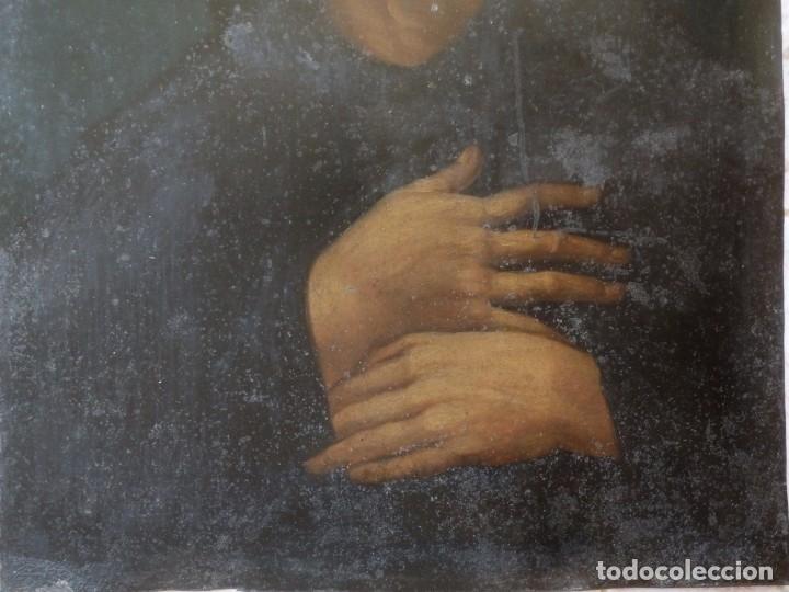 Arte: Charitas Bónitas. S. Francisco de Paula. Óleo sobre lámina de metal. 41 x 31 cm. Siglos XVII-XVIII. - Foto 10 - 155317470