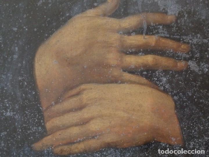 Arte: Charitas Bónitas. S. Francisco de Paula. Óleo sobre lámina de metal. 41 x 31 cm. Siglos XVII-XVIII. - Foto 11 - 155317470