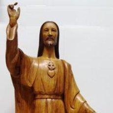 Arte: MAGNIFICO I ANTIGUO SAGRADO CORAZON DE JESUS FIRMADO POR ROSES DE BARCELONA -. Lote 155326522