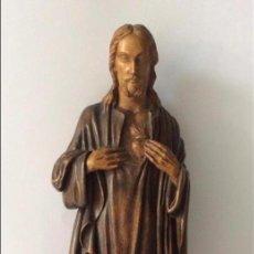Arte: ESCULTURA EN MADERA DEL SAGRADO CORAZÓN DE JESÚS, . JOSÉ LARREA ECHANIZ . ESCULTURA REALIZADA POR E. Lote 155528514