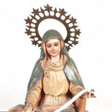 Arte: VIRGEN DE LA CINTA. ESTUCO PINTADO A MANO. EL ARTE CRISTIANO. OLOT. SIGLO XX. . Lote 155579090