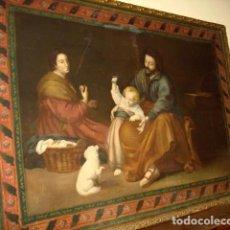 Arte: CUADRO ANTIGUO TAPIZ PINTADO DE LA SAGRADA FAMILIA . Lote 155610850