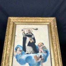 Arte: SAN VICENTE FERRER ACUARELA SOBRE PAPEL CON MARCO PRIN. S.G.XIX. Lote 155704962