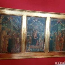 Arte: TRÍPTICO DORADO SOBRE TABLA. ESCENAS BÍBLICAS.. Lote 155767378