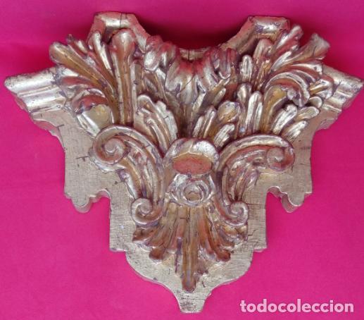 FRAGMENTO DE RETABLO EN MADERA TALLADA, ESTUCADA Y DORADA AL ORO FINO S. XVIII. 37X44X11 CMS (Arte - Arte Religioso - Retablos)