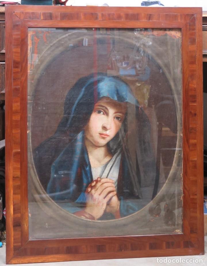 PRECIOSA DOLOROSA. OLEO S/ LIENZO. SIGLO XVIII. MARCO ANTIGUO (Arte - Arte Religioso - Pintura Religiosa - Oleo)