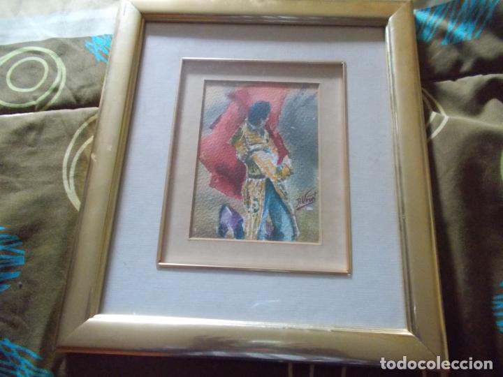 EXCELENTE ACUARELA TEMA TAURINO CON FIRMA ORIGINAL MEDIDAS 36X32 (Arte - Arte Religioso - Pintura Religiosa - Acuarela)