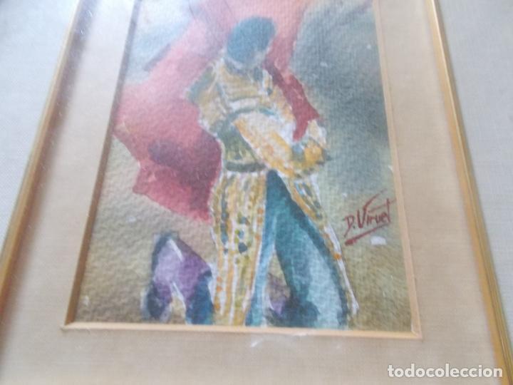 Arte: EXCELENTE ACUARELA TEMA TAURINO CON FIRMA ORIGINAL MEDIDAS 36X32 - Foto 2 - 155964594
