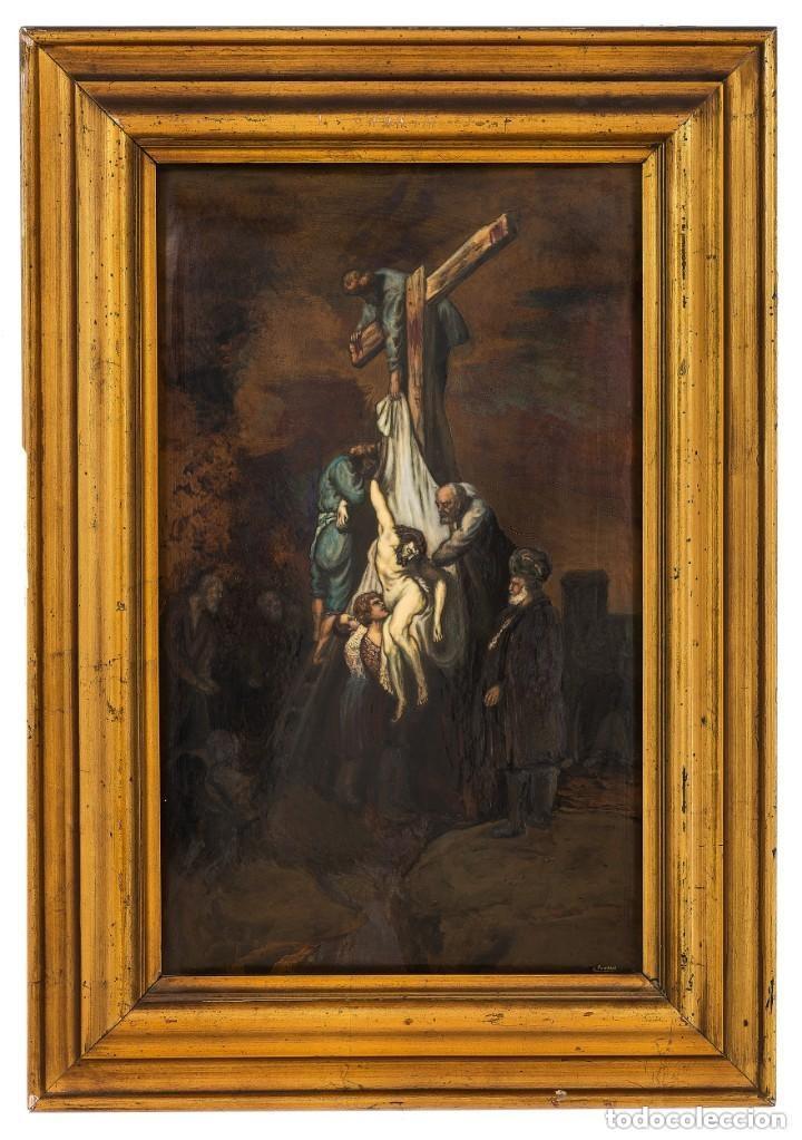 DESCENDIMIENTO DE LA CRUZ CRISTO COBRE O METAL CONVEXO ESMALTE FIRMADO: 48.5X33.5 CM MARCO MADERA (Arte - Arte Religioso - Pintura Religiosa - Otros)