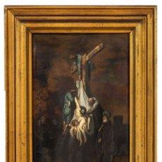 Arte: DESCENDIMIENTO DE LA CRUZ CRISTO COBRE O METAL CONVEXO ESMALTE FIRMADO: 48.5X33.5 CM MARCO MADERA. Lote 155977026