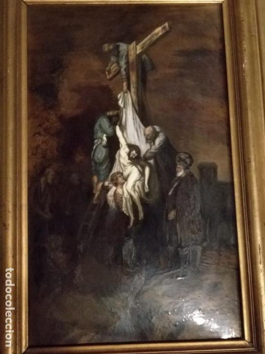 Arte: Descendimiento de LA CRUZ Cristo cobre O METAL convexo Esmalte Firmado: 48.5X33.5 cm marco madera - Foto 5 - 155977026