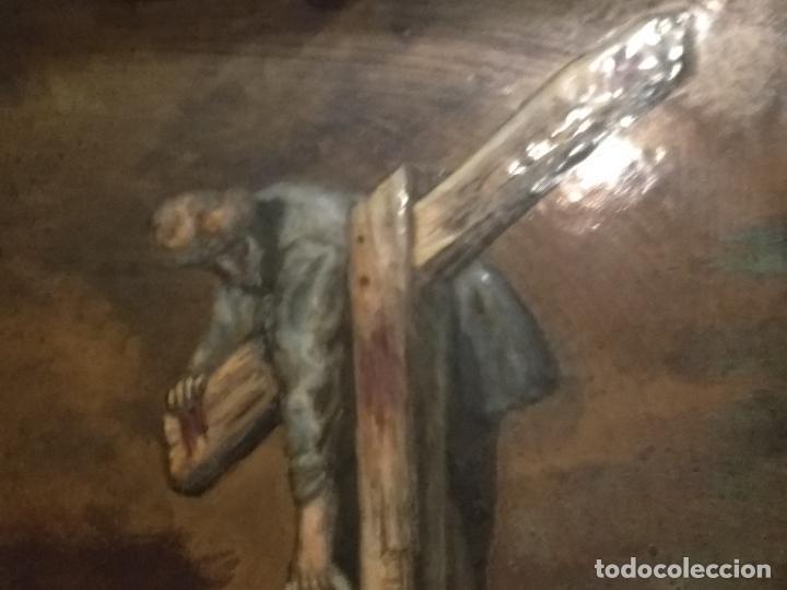 Arte: Descendimiento de LA CRUZ Cristo cobre O METAL convexo Esmalte Firmado: 48.5X33.5 cm marco madera - Foto 6 - 155977026