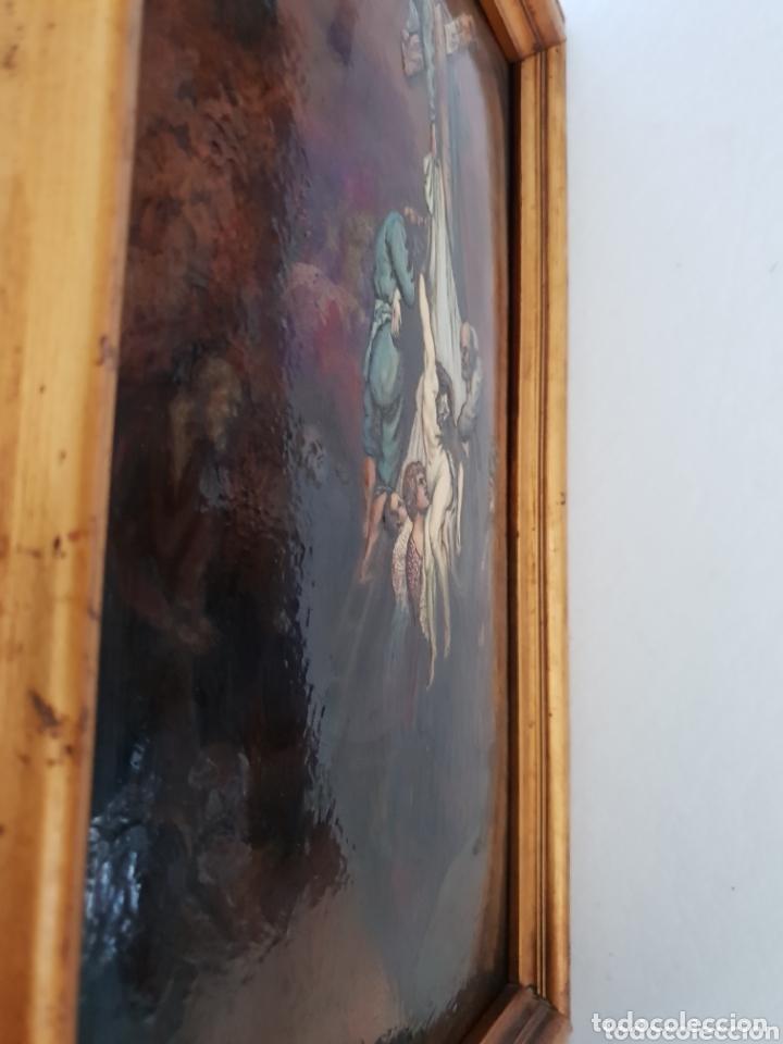 Arte: Descendimiento de LA CRUZ Cristo cobre O METAL convexo Esmalte Firmado: 48.5X33.5 cm marco madera - Foto 7 - 155977026
