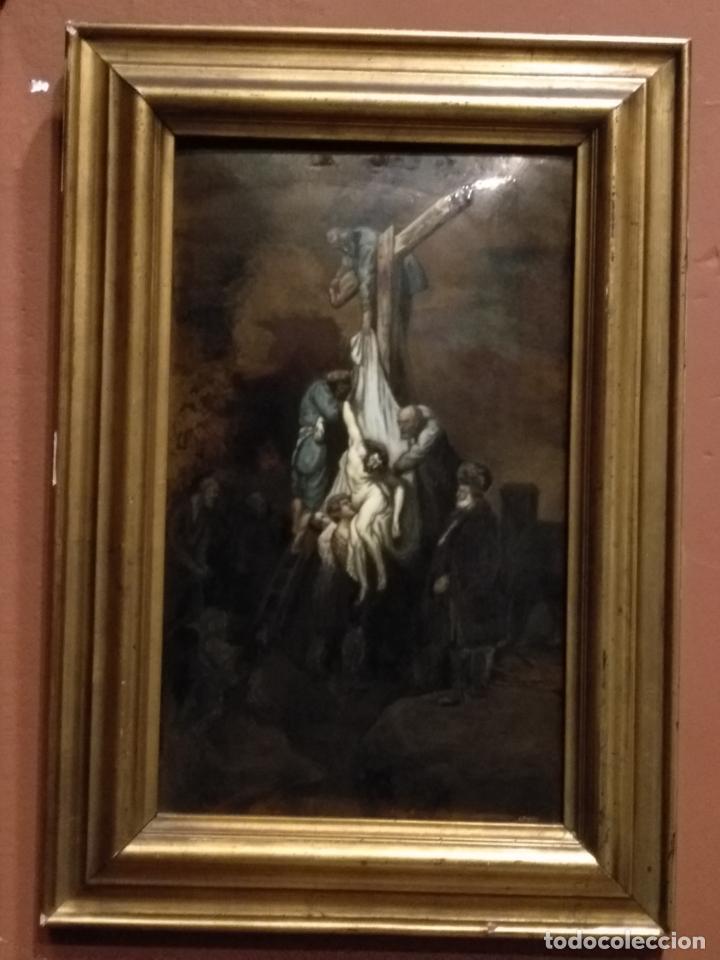 Arte: Descendimiento de LA CRUZ Cristo cobre O METAL convexo Esmalte Firmado: 48.5X33.5 cm marco madera - Foto 10 - 155977026