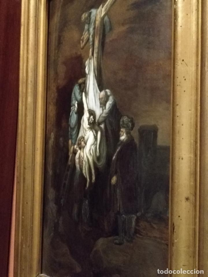 Arte: Descendimiento de LA CRUZ Cristo cobre O METAL convexo Esmalte Firmado: 48.5X33.5 cm marco madera - Foto 12 - 155977026