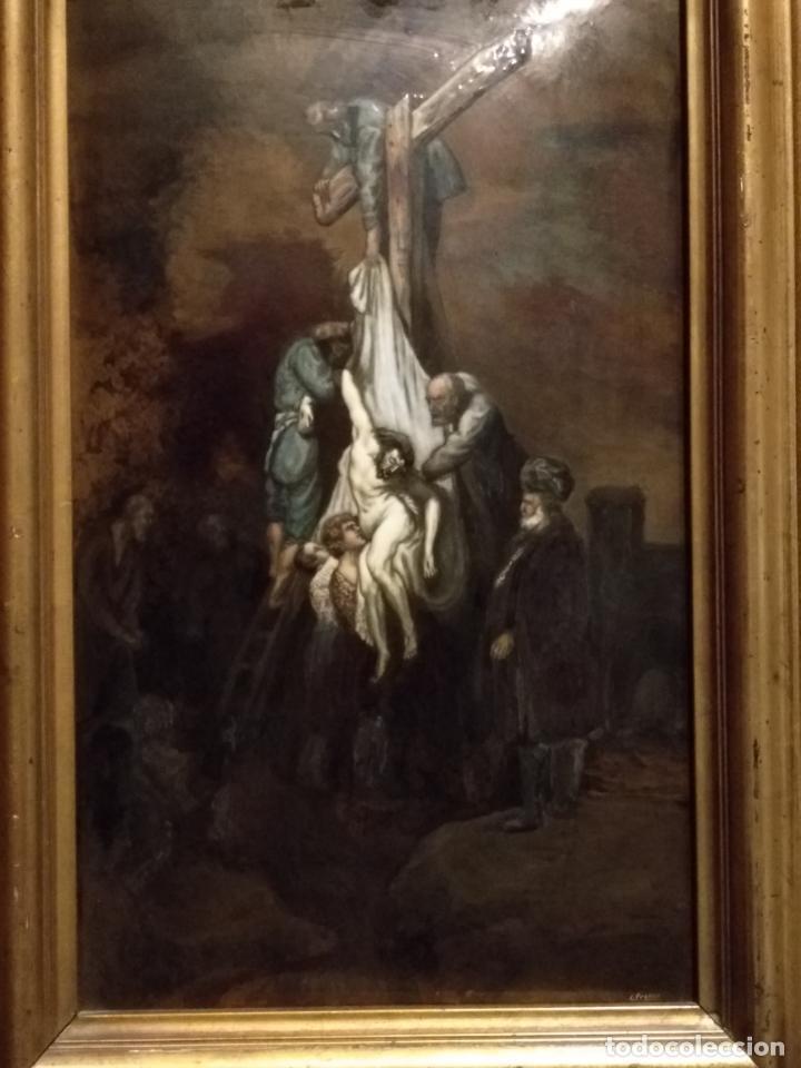 Arte: Descendimiento de LA CRUZ Cristo cobre O METAL convexo Esmalte Firmado: 48.5X33.5 cm marco madera - Foto 14 - 155977026