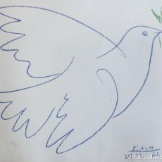 Arte: PABLO PICASSO LITHOGRAPH ,THE DOVE SIGNED AND DATED 1961. Lote 155999162