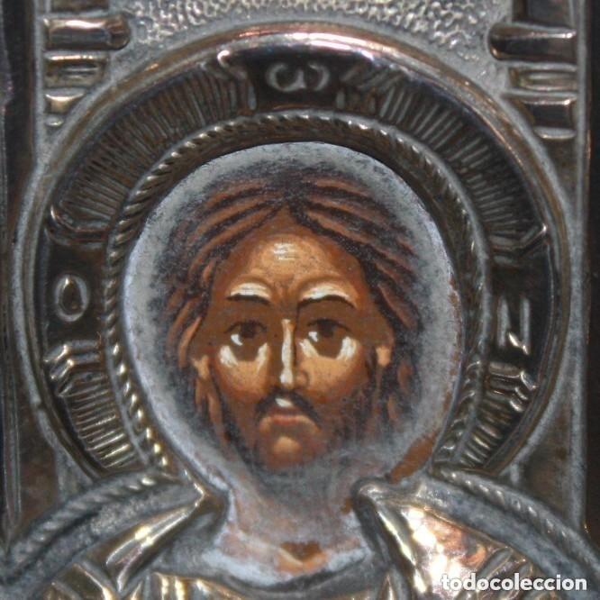 Arte: GRAN ICONO BIZANTINO EN PLATA REPUJADA DE 950. 27,5 CM. X 21,5 CM. - Foto 3 - 108429307