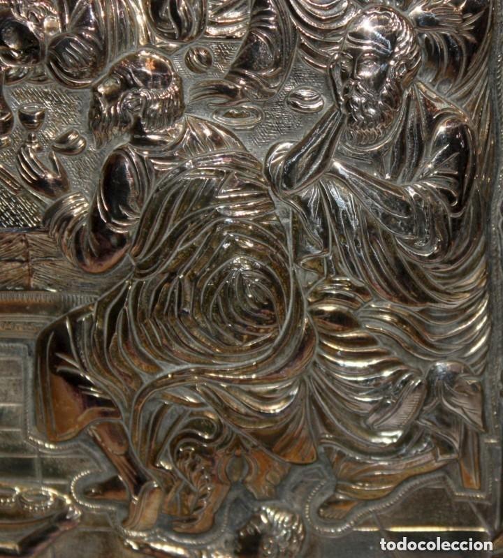 Arte: GRAN ICONO BIZANTINO EN PLATA REPUJADA DE 950. 27,5 CM. X 21,5 CM. - Foto 5 - 108429307