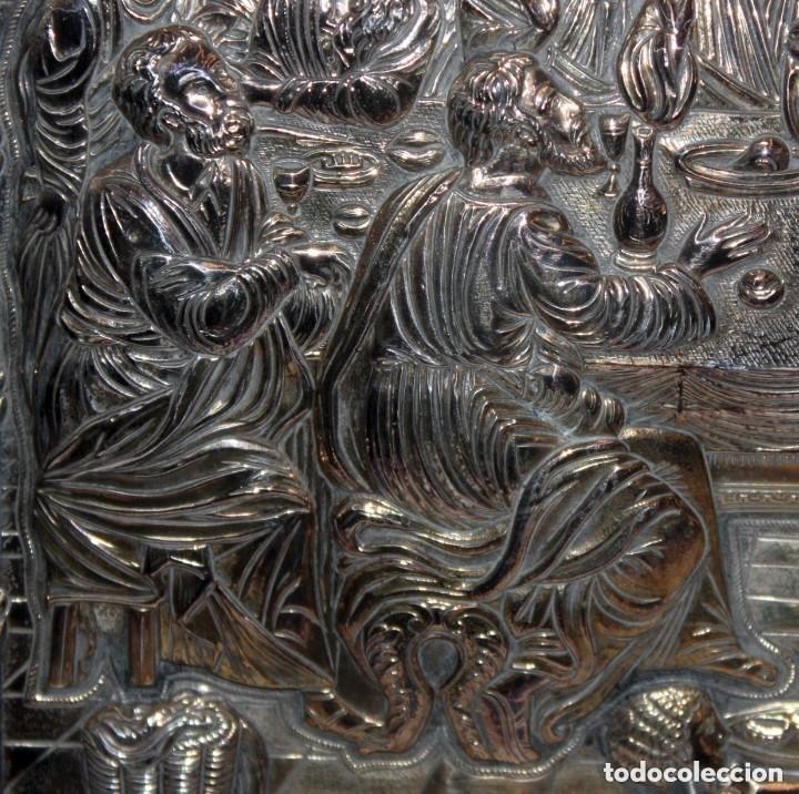 Arte: GRAN ICONO BIZANTINO EN PLATA REPUJADA DE 950. 27,5 CM. X 21,5 CM. - Foto 7 - 108429307