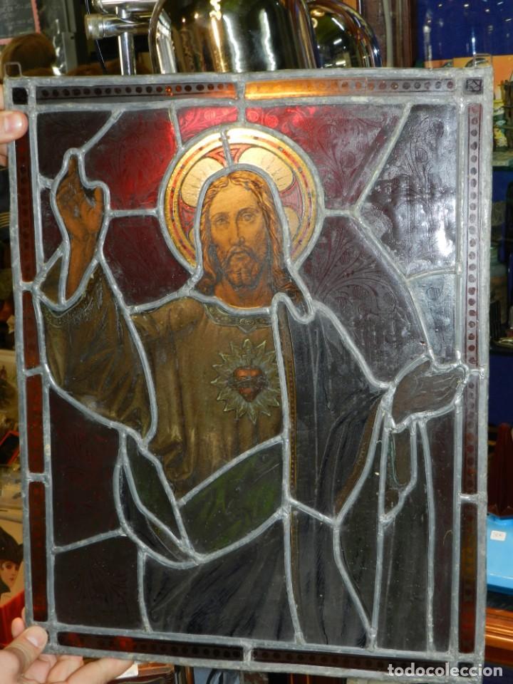 (M) PLAFON DE CRISTAL EMPLOMADO S.XIX IMAGEN DE SAN JOSE 46,5 X 37 CM, SEÑALES DE USO NORMALES (Arte - Arte Religioso - Pintura Religiosa - Otros)