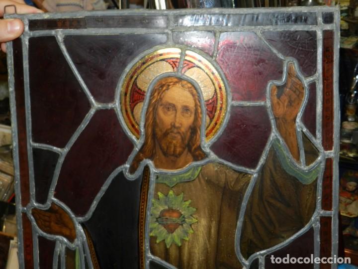 Arte: (M) PLAFON DE CRISTAL EMPLOMADO S.XIX IMAGEN DE SAN JOSE 46,5 X 37 CM, SEÑALES DE USO NORMALES - Foto 6 - 156046050