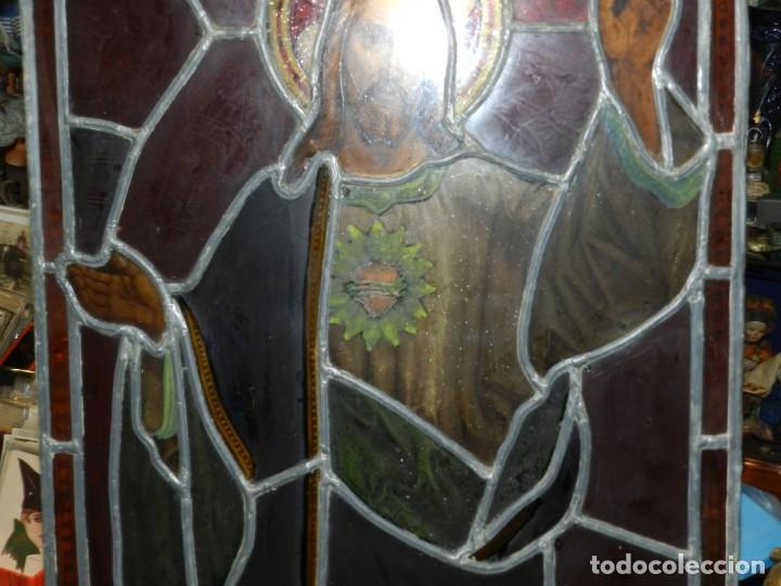 Arte: (M) PLAFON DE CRISTAL EMPLOMADO S.XIX IMAGEN DE SAN JOSE 46,5 X 37 CM, SEÑALES DE USO NORMALES - Foto 7 - 156046050