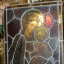 Arte: (M) PLAFON DE CRISTAL EMPLOMADO S.XIX IMAGEN VIRGEN MARIA Y NIÑO JESUS , 46,5 X 37 CM. Lote 156046678
