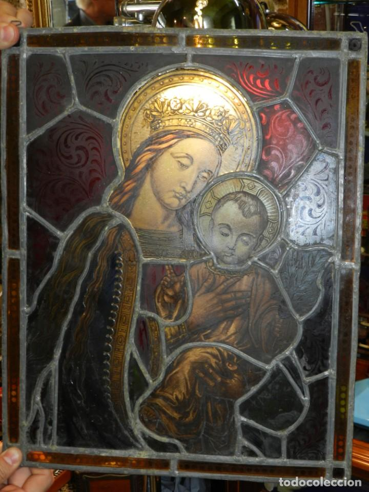 Arte: (M) PLAFON DE CRISTAL EMPLOMADO S.XIX IMAGEN VIRGEN MARIA Y NIÑO JESUS , 46,5 X 37 CM - Foto 2 - 156046678
