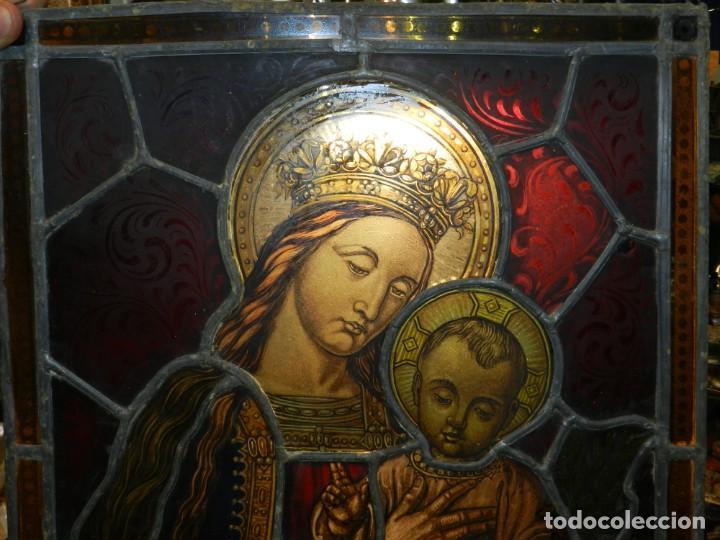Arte: (M) PLAFON DE CRISTAL EMPLOMADO S.XIX IMAGEN VIRGEN MARIA Y NIÑO JESUS , 46,5 X 37 CM - Foto 3 - 156046678