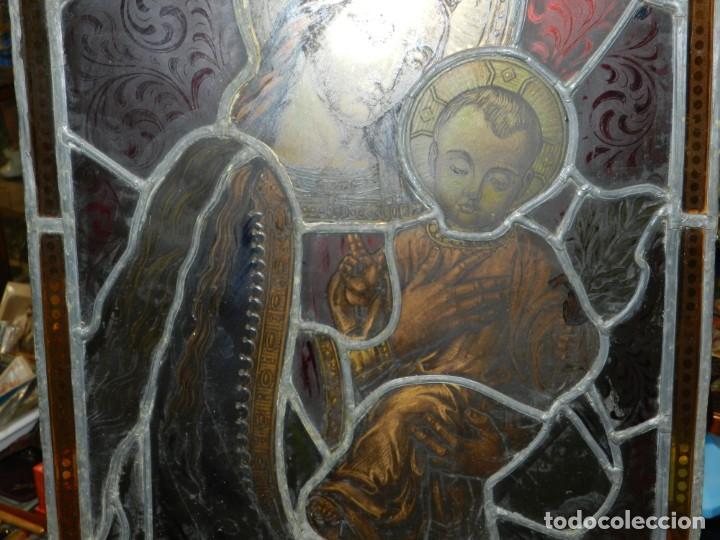 Arte: (M) PLAFON DE CRISTAL EMPLOMADO S.XIX IMAGEN VIRGEN MARIA Y NIÑO JESUS , 46,5 X 37 CM - Foto 4 - 156046678