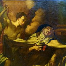 Arte: EL ÉXTASIS DE SANTA TERESA. ÓLEO SOBRE LIENZO. ANÓNIMO. ESCUELA ITALIANA. XVII-XVIII. Lote 156054462