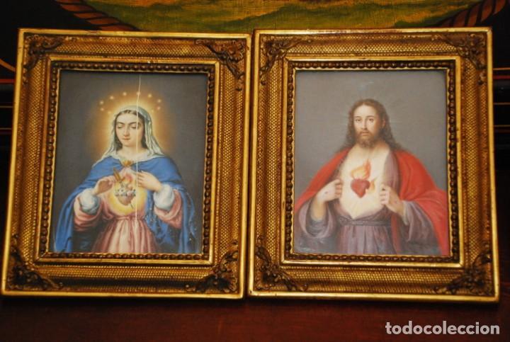INCREÍBLE PAREJA DE ANTIGUAS PINTURAS RELIGIOSAS SIGLO XIX (Arte - Arte Religioso - Pintura Religiosa - Oleo)